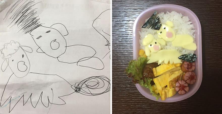 Фуд-арт: Папа превращает рисунки дочери в оригинальные блюда